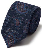 Italienische Luxuskrawatte aus Wolle mit Paisleymuster in Marineblau