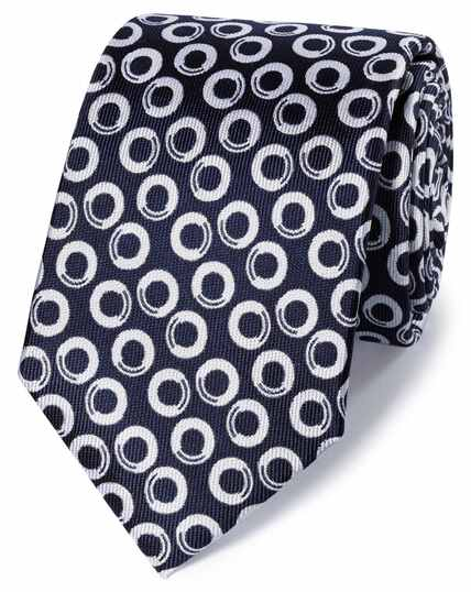 Navy and white silk classic end-on-end geometric tie