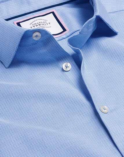Smart Casual Collar Non-Iron Stretch Texture Shirt - Blue