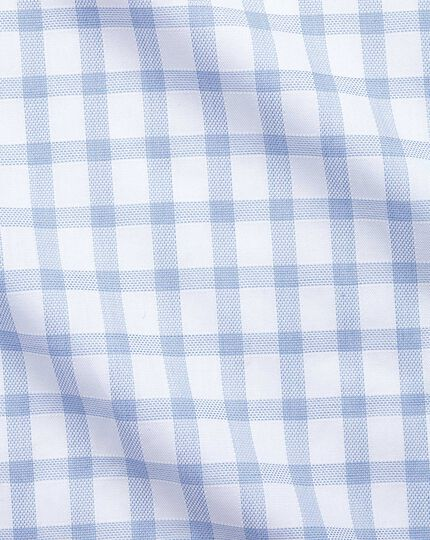 Slim fit windowpane check sky blue shirt