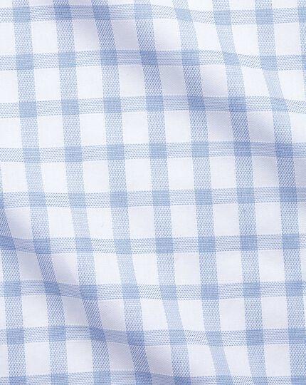 Extra slim fit windowpane check sky blue shirt