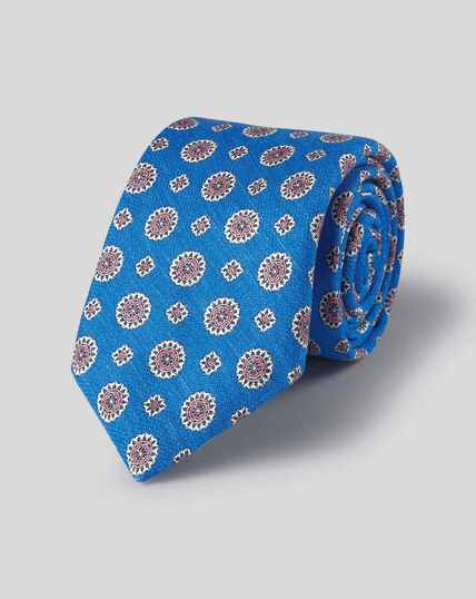 Medallion Print Italian Luxury Tie - Royal Blue & Pink
