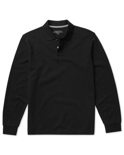 Black long sleeve pique polo