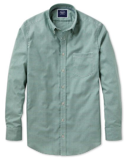 Classic fit dark green gingham soft washed non-iron stretch shirt