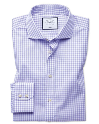 Slim fit non-iton purple check natural cool shirt
