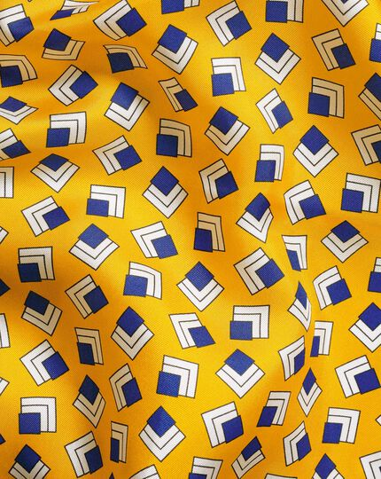 Retro Square Print Pocket Square - Gold & Navy