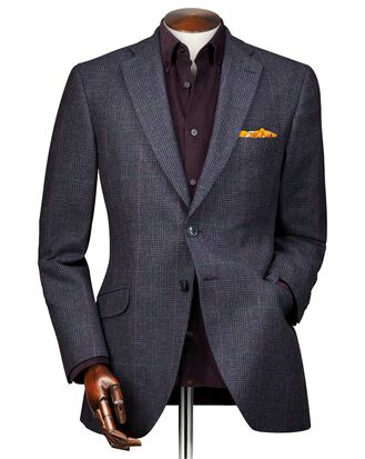 Classic fit blue check cashmere and wool jacket