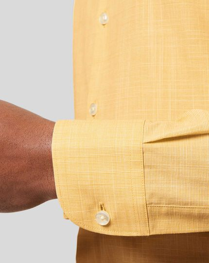 Business Casual Collar Cotton Slub Shirt - Yellow