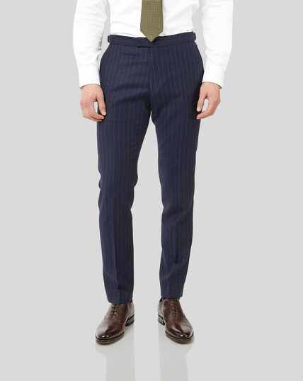 British Luxury Stripe Suit Trousers - Dark Blue