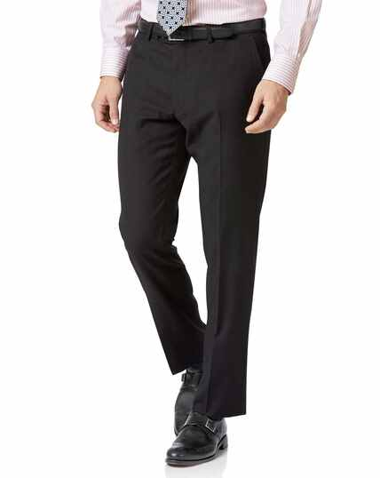 Charcoal slim fit twill business suit pants