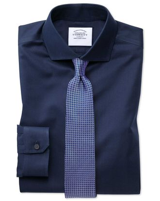 Super slim fit spread collar non-iron twill navy shirt