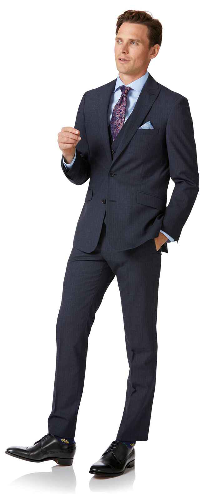 Blue stripe slim fit twist business suit