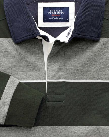 Charcoal, olive and white stripe long sleeve rugby shirt