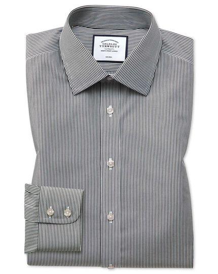 Bügelfreies Classic Fit Hemd mit Bengal-Streifen in Schwarz