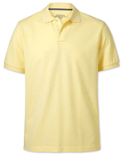 Light yellow melange pique polo