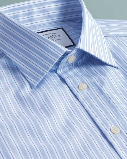 Classic fit Egyptian cotton poplin sky blue stripe shirt