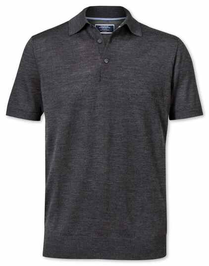 Charcoal merino wool polo collar short sleeve sweater