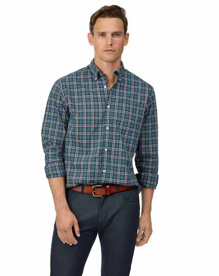 Classic fit soft washed stretch poplin check teal shirt