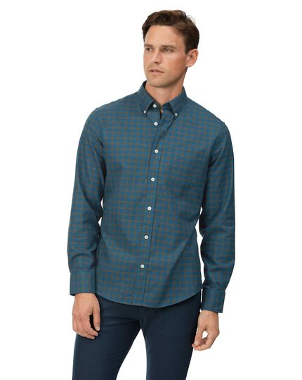 Soft Washed Non-Iron Twill Check Shirt - Teal