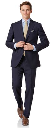 Navy blue twill classic fit business suit