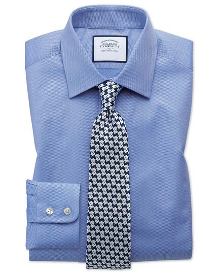 Classic fit Egyptian cotton trellis weave mid blue shirt