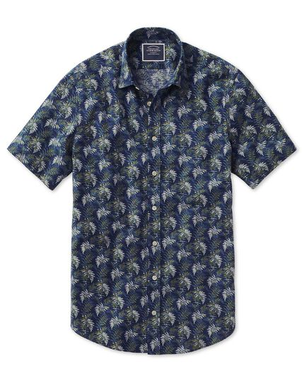 Slim fit leaf print navy and green short sleeve linen cotton shirt