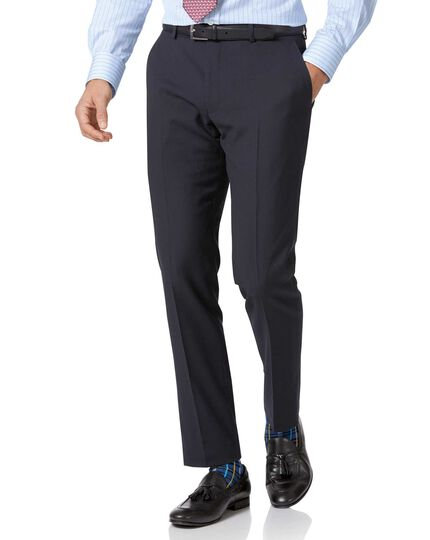 Pantalon de costume business bleu marine slim fit à chevrons