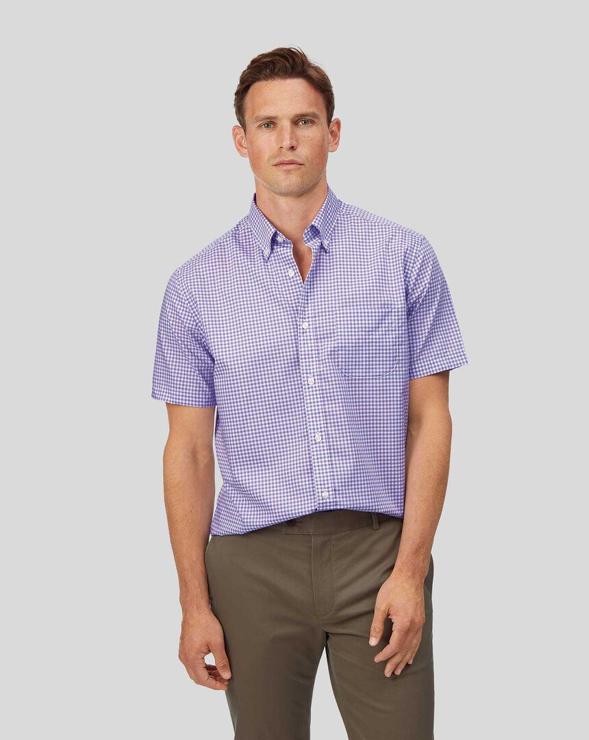 Vorgewaschenes Popeline-Kurzarmhemd mit Button-down-Kragen und Karos - Lila