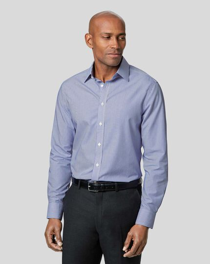 Classic Collar Non-Iron Bengal Stripe Shirt - Navy