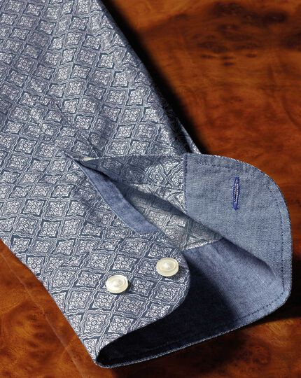 Slim fit light grey diamond print shirt