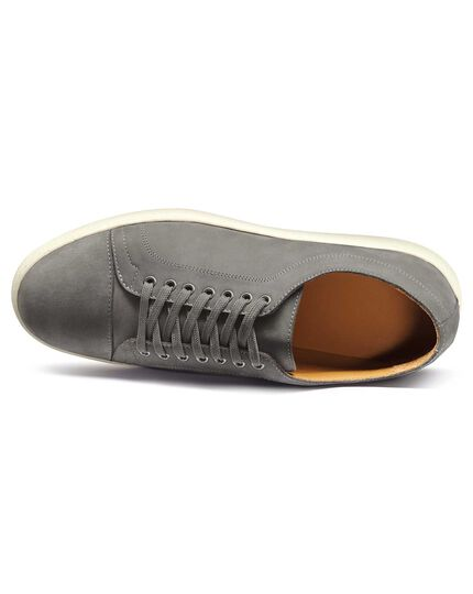 Light grey nubuck leather toe cap trainers