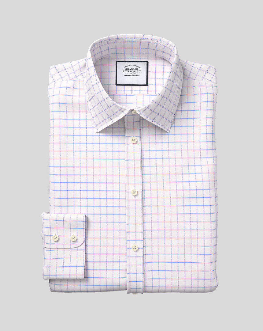 Classic Collar Cotton with TENCEL™ Check Shirt - Blue & Pink