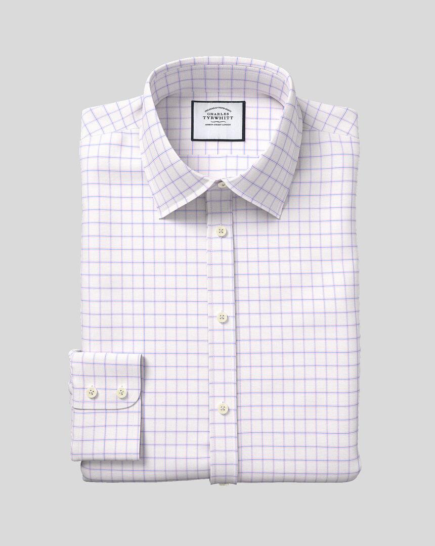 Hemd aus Stretch-Baumwolle mit TENCEL™, Kent-Kragen und Karos - Blau & Rosa