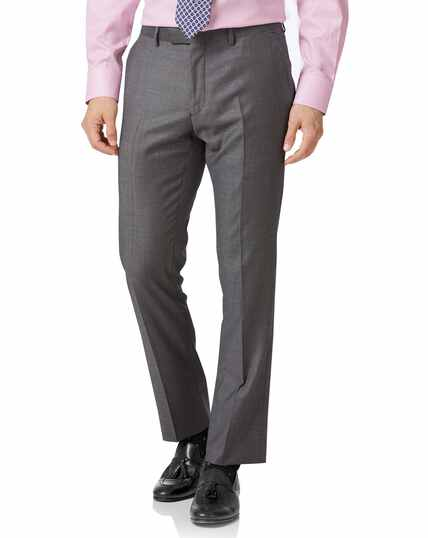 Light grey slim fit wool with cashmere Italian suit Pants