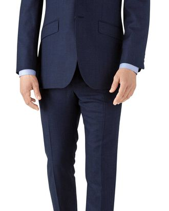 Royal blue slim fit flannel business suit