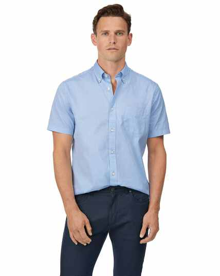 Classic fit sky blue short sleeve button-down washed Oxford plain shirt