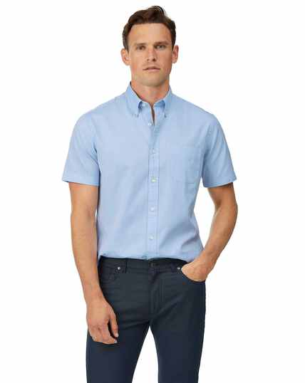 Slim fit sky blue short sleeve plain button-down washed Oxford shirt