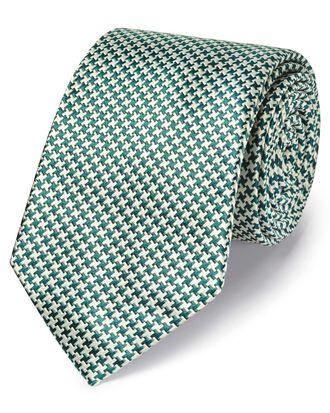 Klassische Krawatte aus schmutzabweisender Seide mit Hahnentrittmuster in Grün
