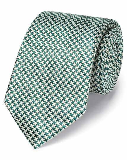 Cravate classique verte en soie anti-taches à motif pied-de-poule
