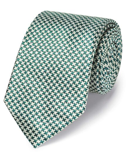 Green silk stain resistant puppytooth classic tie