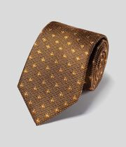 Silk Wool Textured Classic Tie - Gold