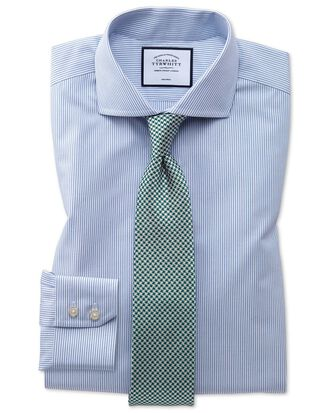 Slim fit spread collar non-iron natural cool blue stripe shirt