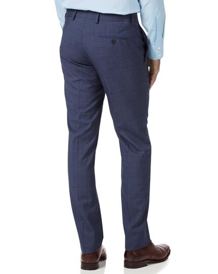 Airforce blue slim fit Panama check business suit trousers