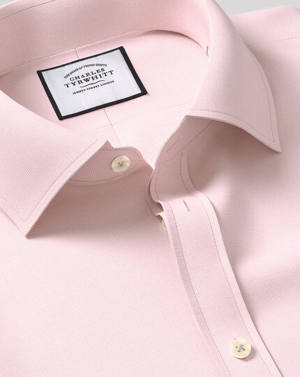 Classic Collar Egyptian Cotton Lattice Weave Shirt - Pink