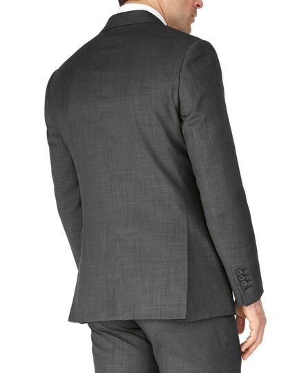 Grey slim fit sharkskin travel suit jacket