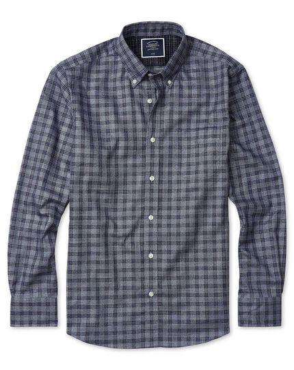 Vorgewaschenes bügelfreies Extra Slim Fit Twill-Hemd mit Karos in Grau