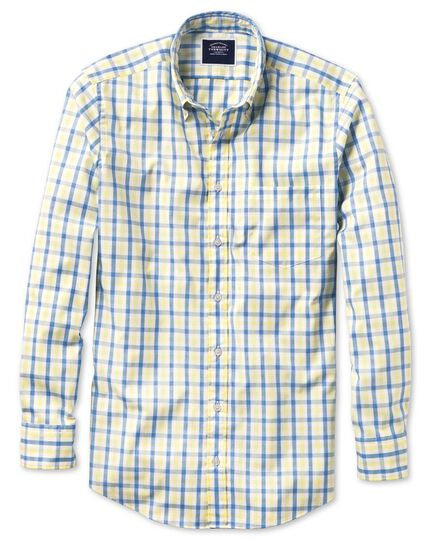 Classic fit yellow and blue gingham soft washed non-iron Tyrwhitt Cool shirt