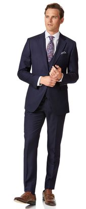 Navy twill slim fit business suit
