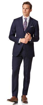 Navy blue twill slim fit business suit