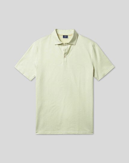 Herringbone Cotton Linen Polo - Apple Green